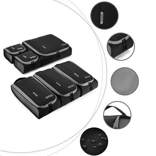 Packing cubes set zwart grijs