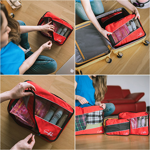 Sunflake packing cubes rood